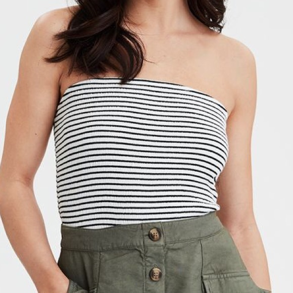 48780b660a6 Black and white striped smocked tube top. NWT. American Eagle Outfitters